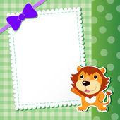 Leeuw. kaart van de baby. — Stockvector
