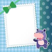 Hippo. baby card. — Stock Vector