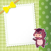 Wild boar. baby card. — Stock Vector