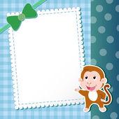 Singe. carte de bébé. — Vecteur