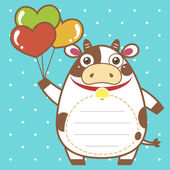Cute dairy cattle of scrapbook background — Vecteur