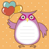 Cute owl of scrapbook background — Stock Vector