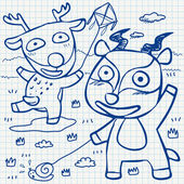 Notebook paper doodles — Stock vektor