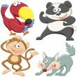 Cute cartoon animal set — Stock Vector