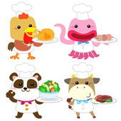 Cute cartoon animal cook collection — Stock Vector