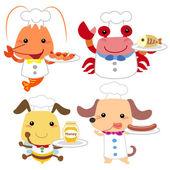 Cute cartoon animal cook collection — Stock Vector