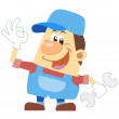 Cartoon plumber with white background — Stock Vector #27854287