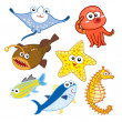 Cartoon sea animals set with white background — Stock Vector