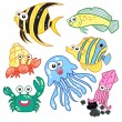 Cartoon sea animals set with white background — Imagens vectoriais em stock