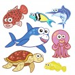 Cartoon sea animals set with white background — Stock Vector #27964861