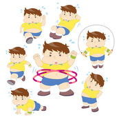 Illustration of overweight boy fitness collection — Stock Vector