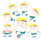 Illustration of overweight girl fitness collection — Stock Vector