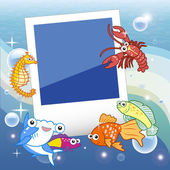 Decorative frame for photo with tropical bright fishes. — Stock Vector