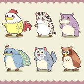 Retro cute animals set — Stock Vector