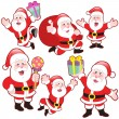 Cute cartoon Santa Claus collection — Stock Vector