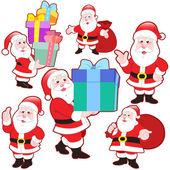 Cute cartoon Santa Claus collection — Stock Vector