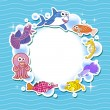Decorative frame for photo with tropical bright fishes — Stock Vector