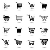 Set collection of vector shopping cart icons — Stock Vector