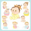 Vector illustration of baby boys and baby girls — Stock Vector #28842351