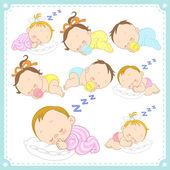 Vector illustration of baby boys and baby girls — Stock Vector
