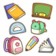 School set. set of different school items — Stock Vector