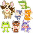 Cute cartoon animal set — Stockvektor