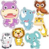 Cute cartoon animal set — Stock Vector