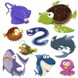 Cartoon sea animal illusration collection — Stock Vector #30985435