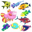 Cartoon sea animal illusration collection — Stock Vector