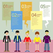 Abstract pixel people infographics — Stock Vector