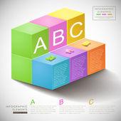 Infografía 3d abstracto de la caja — Vector de stock