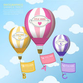 Abstract hot air balloons infographics design — Stockvektor