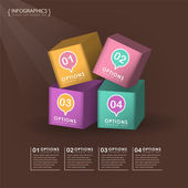 Vector abstract 3d cube infographics — Stock Vector