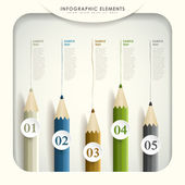 Abstract 3d colored pencil infographics — Vecteur