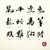 Calligraphy zodiac symbols — Stock Vector