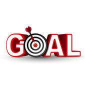 Goal red word and conceptual target with arrow — Stock Vector