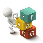3d illustration of person with word FAQ cubes — Stock Vector
