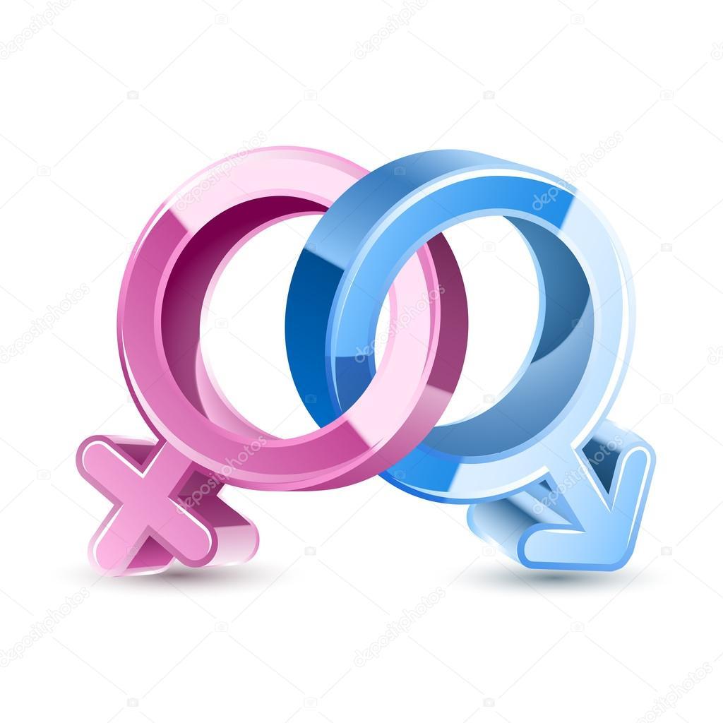 Símbolo feminino masculino 3D — Vetor de Stock © kchungtw #37559645 -> Simbolo Banheiro Feminino E Masculino