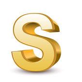 3d golden letter S — Stock Vector