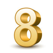 3d shiny golden number 8 — Stock Vector