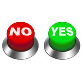 3d illustration of yes and no buttons — Stock Vector