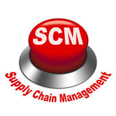 3d illustration of scm ( supply chain management ) button — Stock Vector