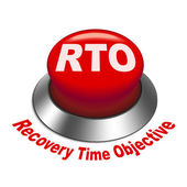 3d illustration of rto recovery time objective button — Stock Vector