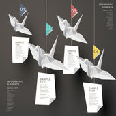 абстрактный оригами бумага краны инфографика — Cтоковый вектор