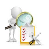 3d person tittar checklista och verktyg med förstoringsglas — Stockvektor