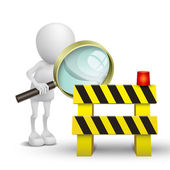 3d person watching a roadblock with a magnifying glass — Stock Vector