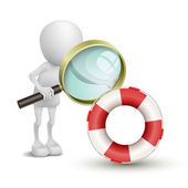3d person watching a buoy with a magnifying glass — Stock Vector
