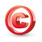 Red glossy copyright symbol — Stock Vector