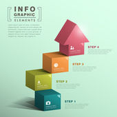Soyut küp merdiven evi infographics ile — Stok Vektör