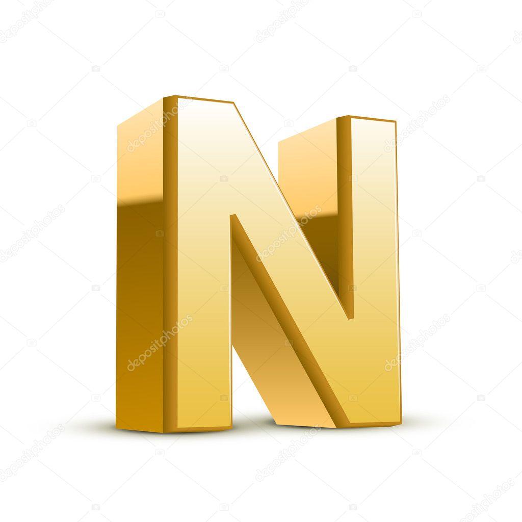 3d goldenen buchstaben n stockvektor kchungtw 41184547. Black Bedroom Furniture Sets. Home Design Ideas